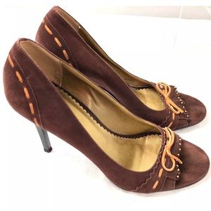 BCBGIRLS Heels Brown Suede Leather Open Toe Shoes